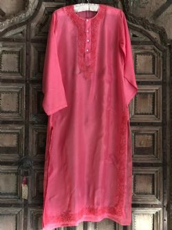 Pure Silk Kaftan with Embroidery - Rose Pink